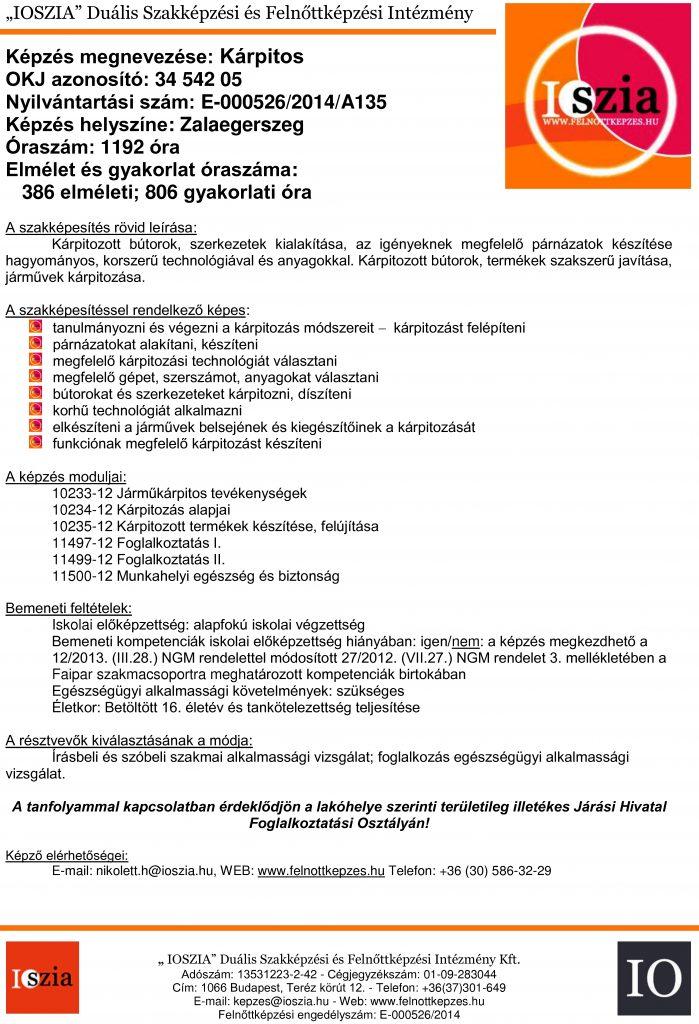 Kárpitos OKJ - Zalaegerszeg - felnottkepzes.hu - Felnőttképzés - IOSZIA