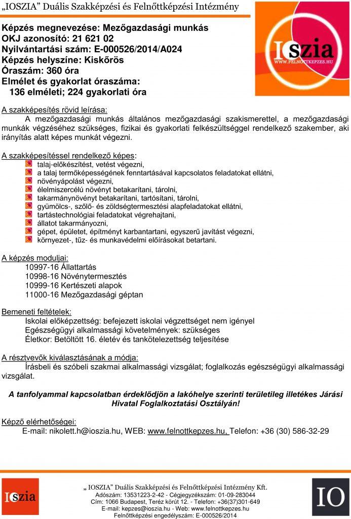 Mezőgazdasági munkás OKJ - Kiskőrös - felnottkepzes.hu - Felnőttképzés - IOSZIA