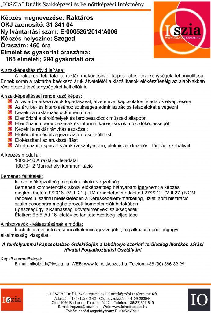 Raktáros OKJ - Szeged - felnottkepzes.hu - Felnőttképzés - IOSZIA