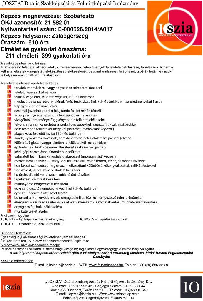 Szobafestő OKJ - Zalaegerszeg - felnottkepzes.hu - Felnőttképzés - IOSZIA