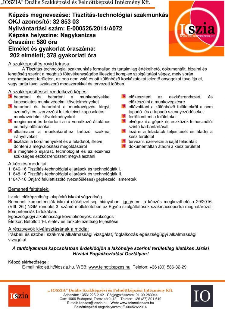 Tisztítás-technológiai szakmunkás OKJ - Nagykanizsa - felnottkepzes.hu - Felnőttképzés - IOSZIA