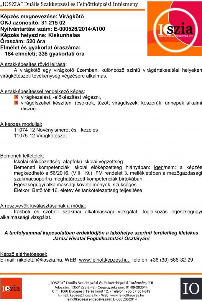 Virágkötő OKJ - Kiskunhalas - felnottkepzes.hu - Felnőttképzés - IOSZIA